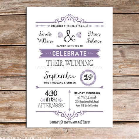 printable lavender diy wedding invitation set