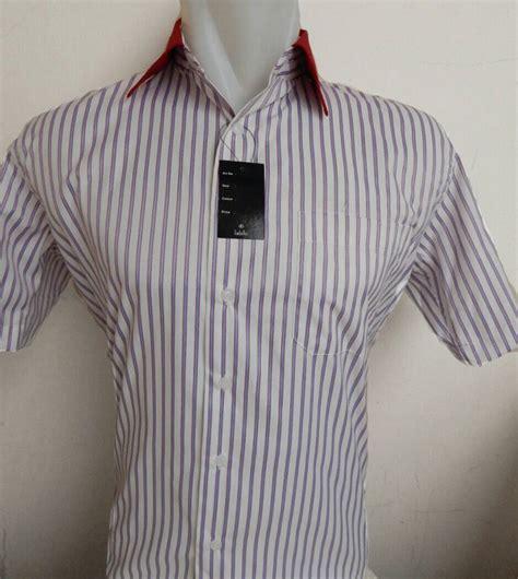 Kemeja Casual Lengan Pendek Garis Buzz2 jual kemeja pria lengan pendek merah putih kombinasi garis