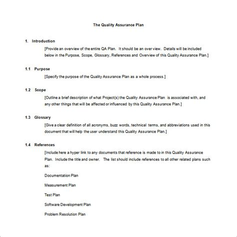 quality assurance program template 7 quality assurance plan template word pdf ppt free