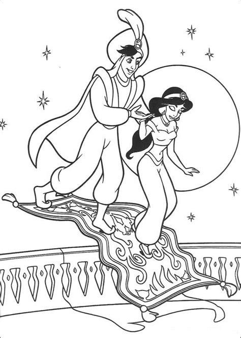 Dibujos de Aladdin y Jasmin para colorear e imprimir