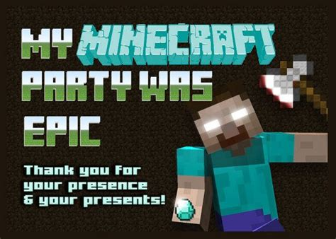minecraft printable thank you cards minecraft herobrine birthday printable thank you card on