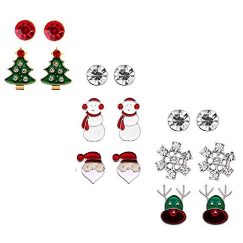 hypoallergenic christmas tree stud earring set gift pack of 8 pairs hypoallergenic gift jewelry for