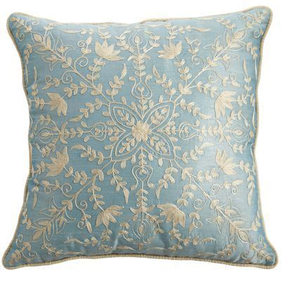 Smoke Blue Pillows by Crewel Embroidered Pillow Smoke Blue Real House
