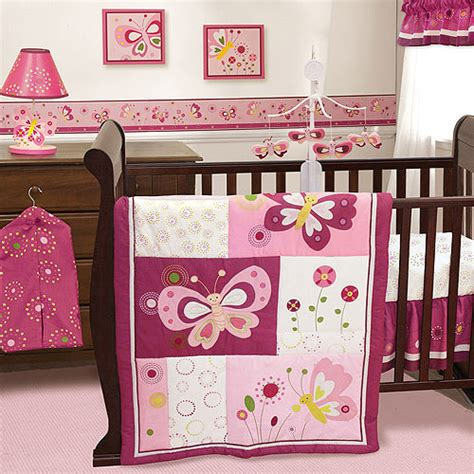 Purple Butterfly Crib Bedding Set Images
