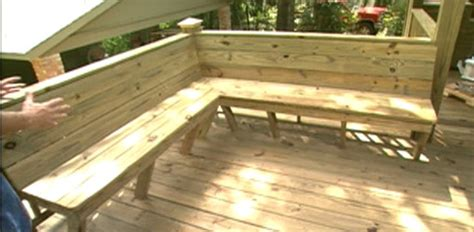 corner deck bench find out how to build a built in corner bench on your deck from treated lumber