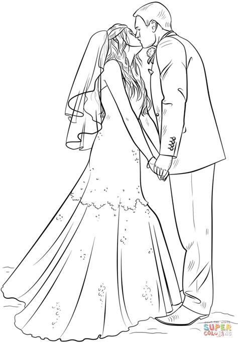 bride and groom coloring page download and printable
