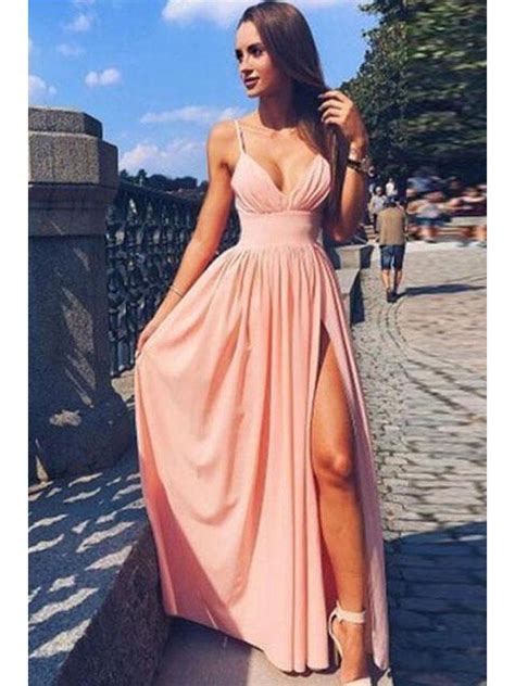 cute simple spaghetti strap  neck pink chiffon long prom