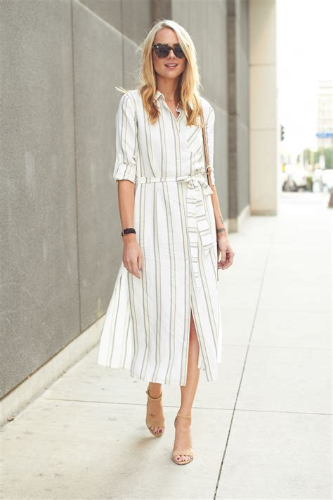 Striped Midi Shirt Dress stripe midi shirtdress fashion jackson