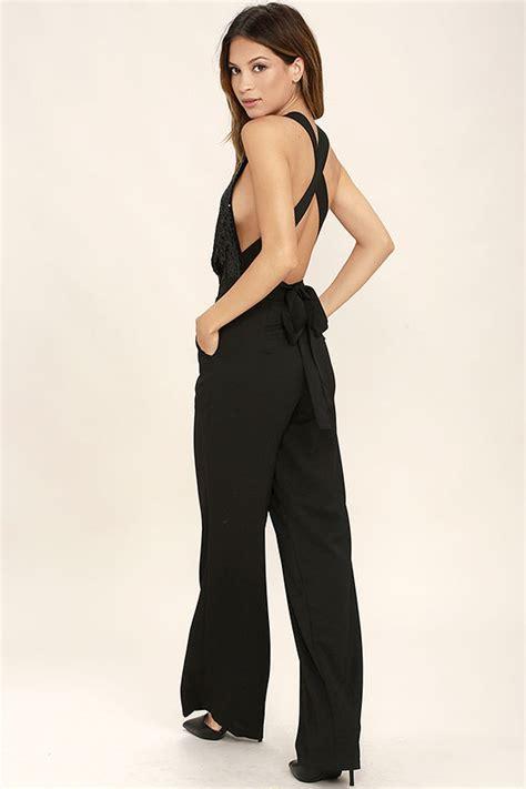 Jumpsuit Heaveni Warnablack chic black jumpsuit sequin jumpsuit wide leg jumpsuit 68 00