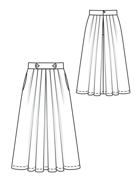 the gallery for gt pleated skirt technical drawing