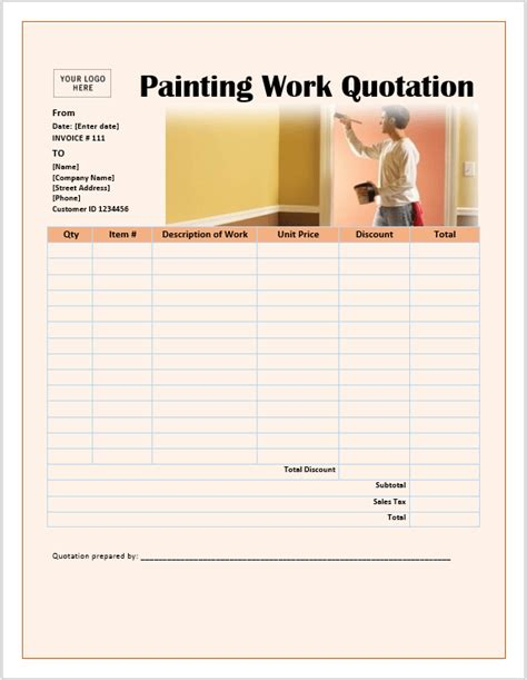 17 Free Painting Work Quotation Templates Ms Office Documents Painting Work Order Template