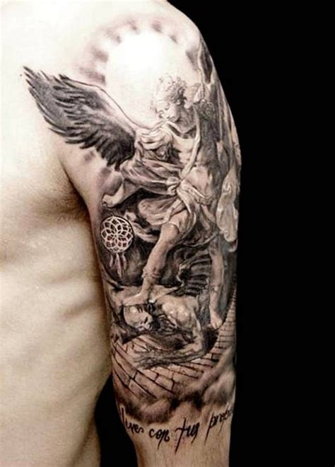 michael angelo tattoo well detailed half sleeve guardian tattoos