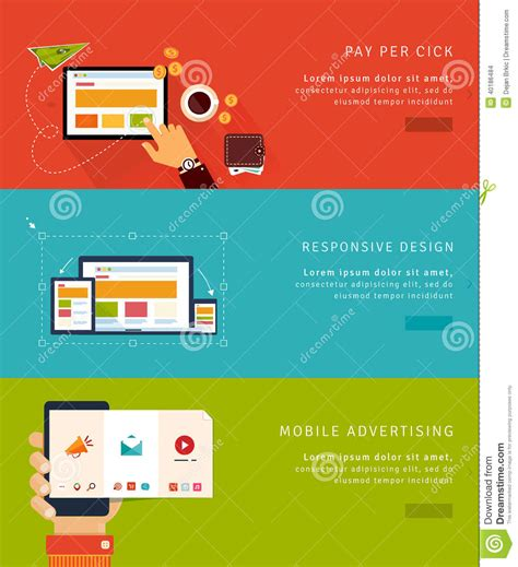 responsive layout banner ad flat design concept icons and banners stock vector image