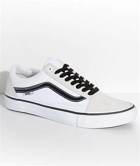 White School Vans Vans Skool Pro White White Black Skate Shoes