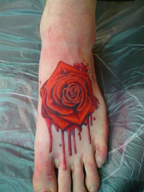 bleeding black rose tattoo 55 beautiful tattoos on foot