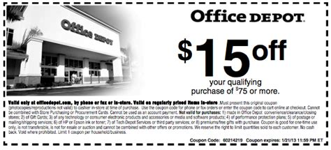 Office Depot Print Coupons Office Depot 20 Coupon W Discount Code Coupon Code 2015