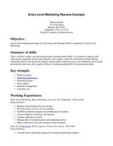 Marketing Resume Exles Entry Level by Entry Level Marketing Resume Sles That An Entry Level Resume Sle Provided By Our