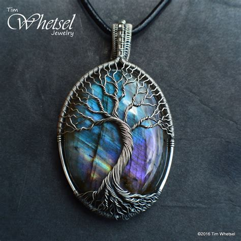 Custom Handcrafted Jewelry - custom wire wrap tree of sterling silver labradorite