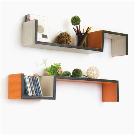 Accessories charming asymmetrical shelves wall mounted orange wooden bookshelf for ideas for