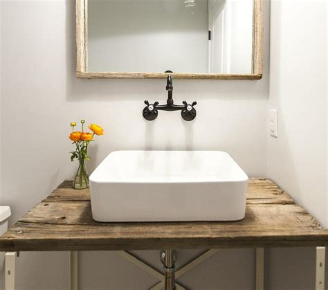powder room sink barn wood powder room vanity with vessel sink vintage