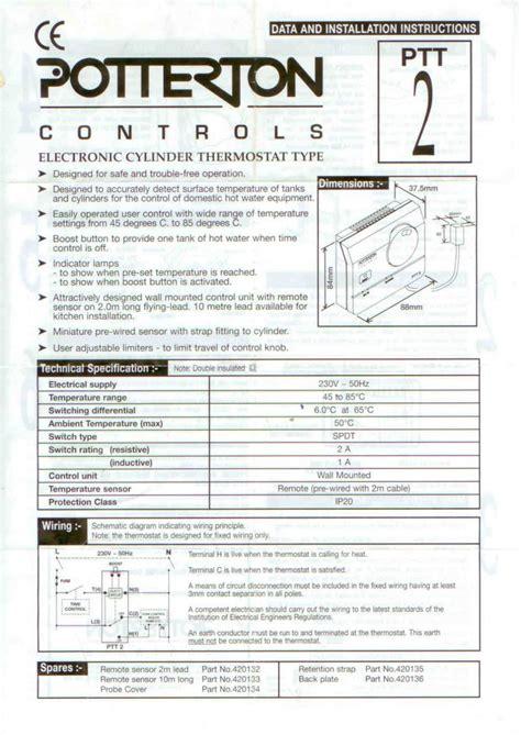 installing  wiring  potterton ptt cylinder thermostat diynot forums