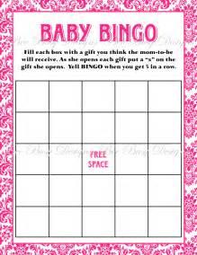 Baby Shower Bingo Card Template Printable Hot Pink Damask Baby Shower Bingo Game Bee