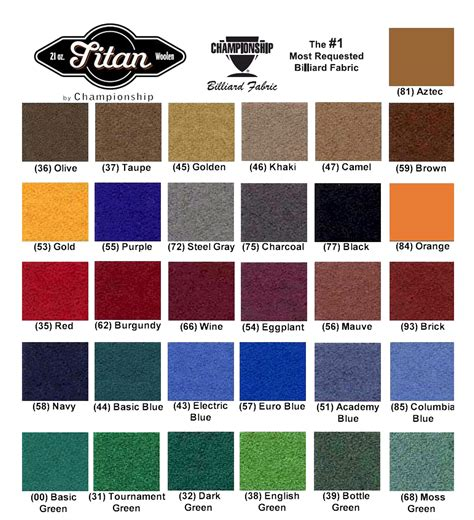 best pool felt color felt chart billiards and darts direct