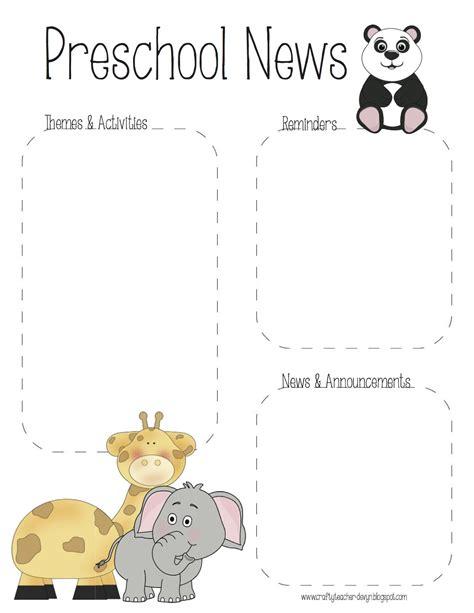 the crafty teacher preschool zoo newsletter template
