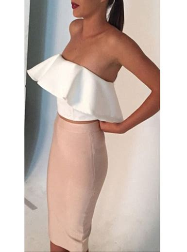 Back Set Topskirt Size Ml wmns 2 set white the shoulder top pencil skirt wide waistband