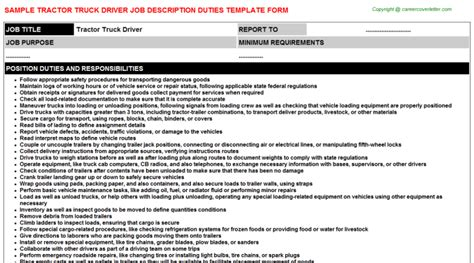 Description Truck Driver by Tractor Truck Driver Title
