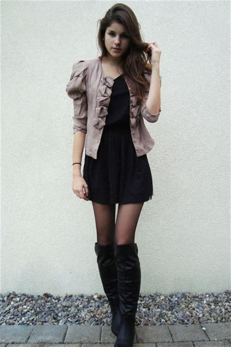 black boots black dress pink jacket black tights