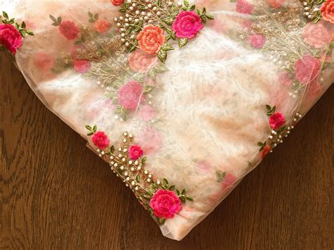 embroidery and on fabric 1 yard embroidered net fabric floral embroidery pearl