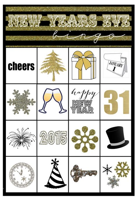 new year free printable cards new years bingo printable