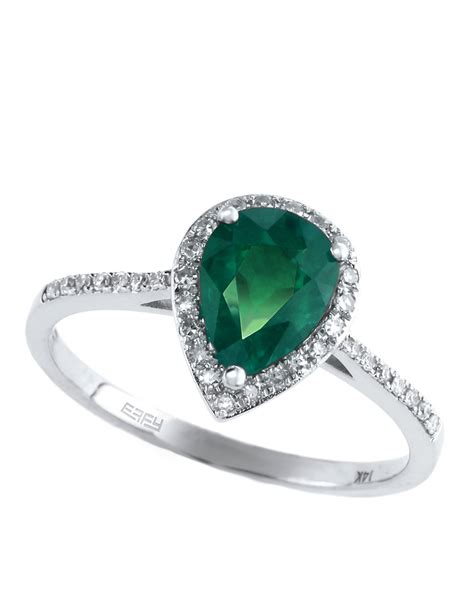 effy brasilica 14kt white gold emerald and ring