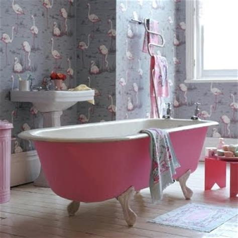 flamingos in bathroom going wild with coastal wallpaper in the bathroom