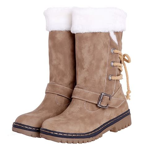 Sepatu Slip On Leather Pvc Gbshoes odema buckle slip on winter snow boots solid concise