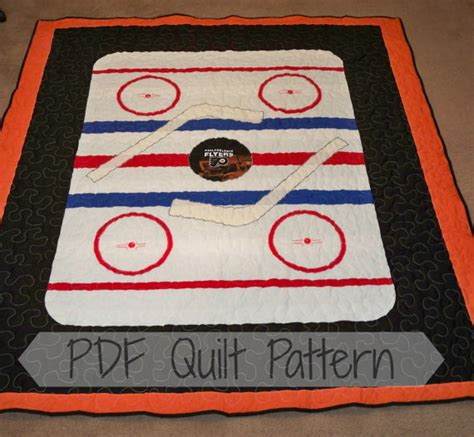 Hockey Quilt Patterns by Pdf Quilt Patternthrow Size Hockey Quilt