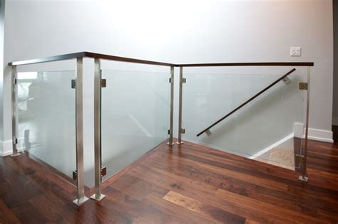Tempered Glass Railing stainless tempered glass railings modern staircase chicago by iron wire llc