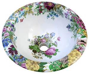floral bathroom sinks garden floral painted sink traditional