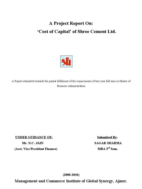 Mba Project On Cost Of Capital by Cost Of Capital Project Cost Of Capital Cement