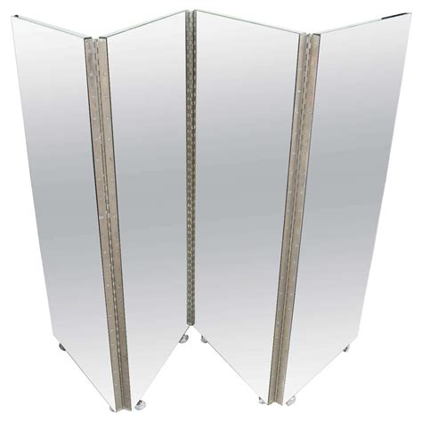Mirror Room Divider Vintage Mid Century Modern Four Panel Mirrored Screen And Room Divider At 1stdibs