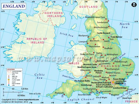 #England #map showing the part of the #UK bordered by Scotland and Wales. Country Maps