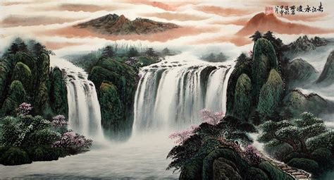 Asian Wall Mural chinese waterfall landscape painting landscapes of asia
