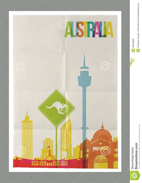 How To Make A Travel Brochure With Paper - travel australia landmarks skyline vintage poster stock