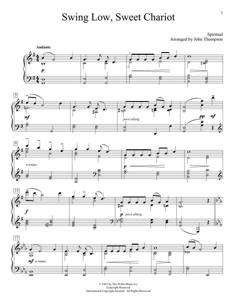 swing low sweet chariot piano notes swing low sweet chariot sheet music by traditional