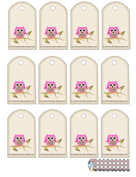 free printable baby shower favor tags template free owl baby shower favor tags printable templates