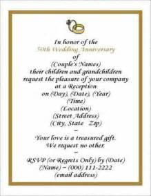 50th Anniversary Templates Free by Free Wedding Anniversary Invitation Template