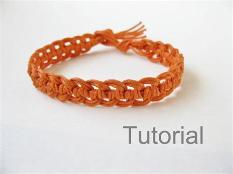 Handmade Bracelets Tutorial - macrame bracelet photo tutorial pattern pdf orange