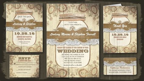 Country Themed Wedding Invitations by Read More Country Rustic Jar Wedding Invitations