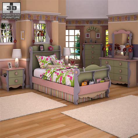 ashley girls bedroom set 3d model ashley doll house sleigh bedroom set vr ar
